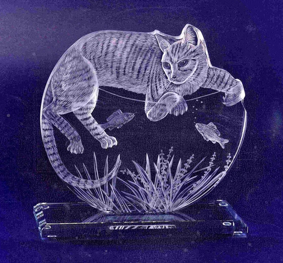Crystal Glass Cat Portrait