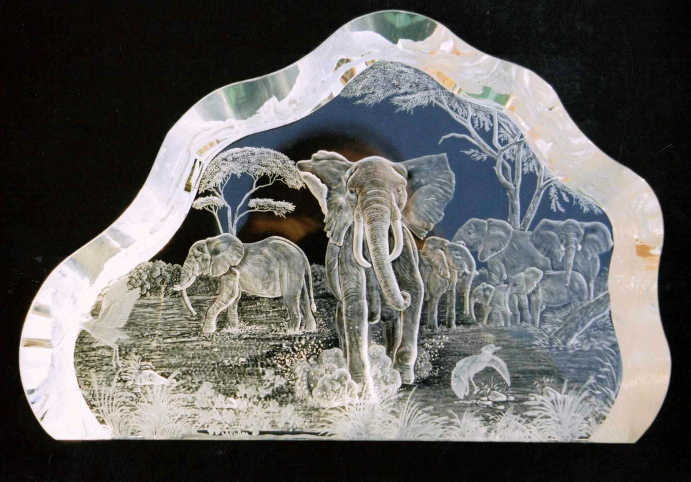 Crystal Block with Elephant