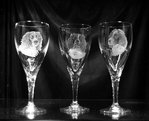 Crystal Wine Glass Set with Spaniel
