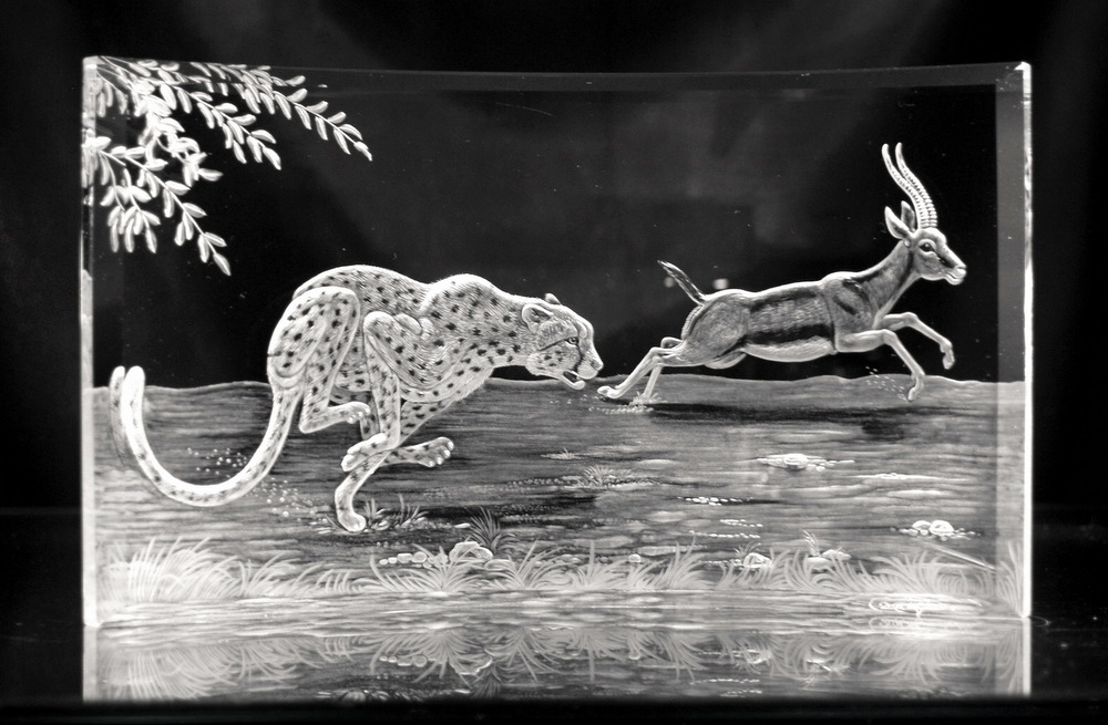Crystal Plaque with Cheetah & Gazelle