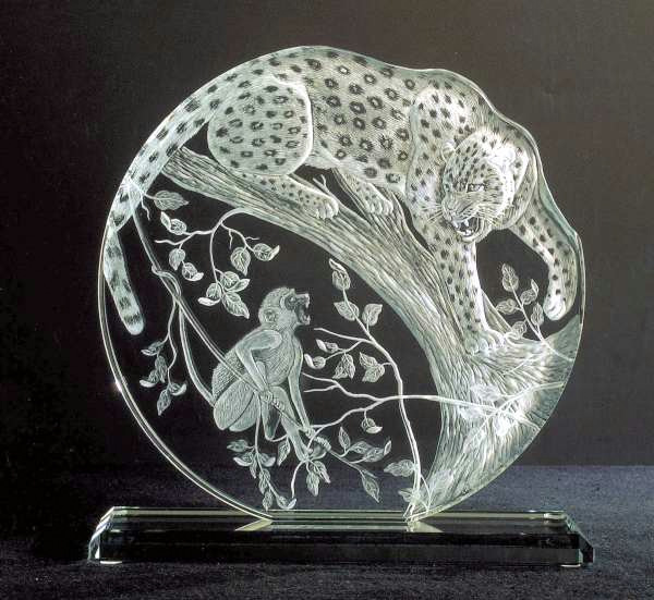 Crystal Plaque with Leopard and Monkey
