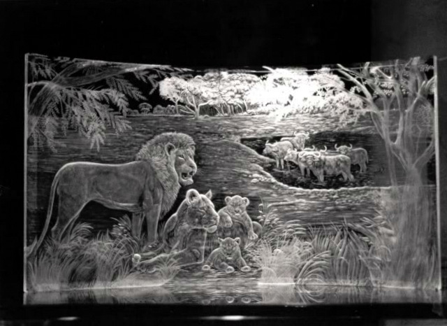 Crystal Plaque with Lions