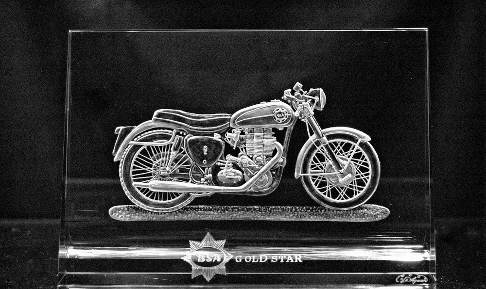 Crystal Plaque with Motorcycle