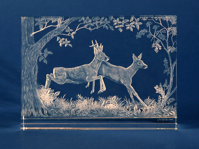 Crystal Plaque with Roe Deer