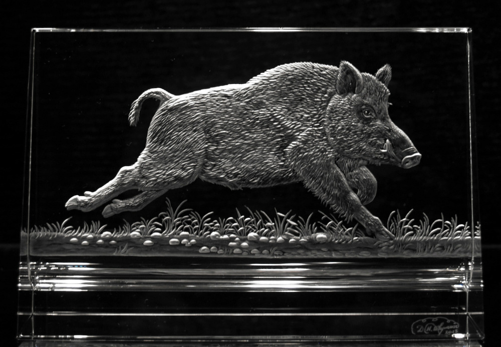 Crystal Plaque with Wild Boar