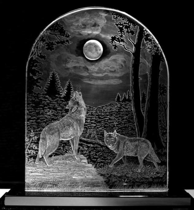 Crystal Plaque with Wolves