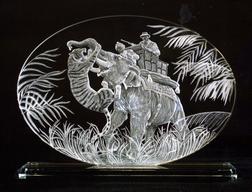 Crystal Plaque with Tiger Hunting Scene