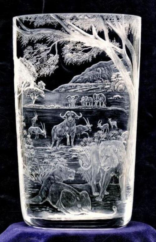Crystal Vase African Scene