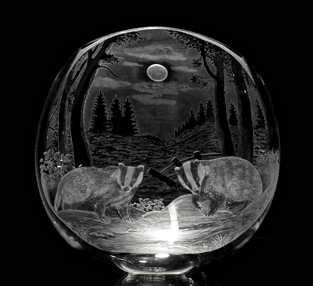 Crystal Vase with Badgers
