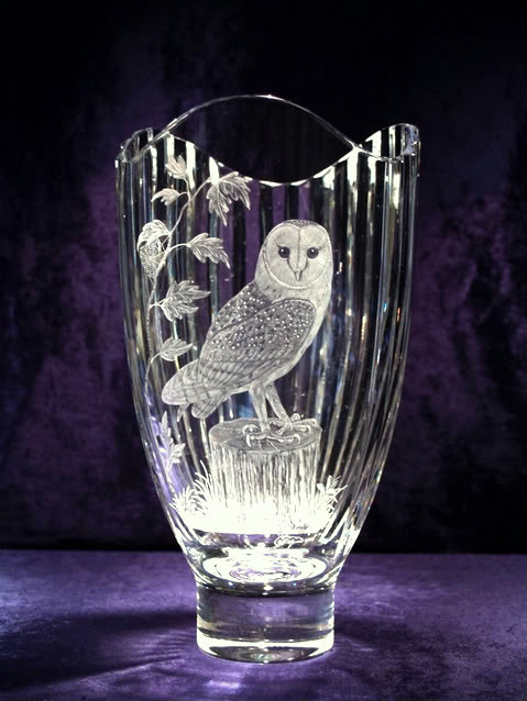 Crystal Vase with Barn Owl