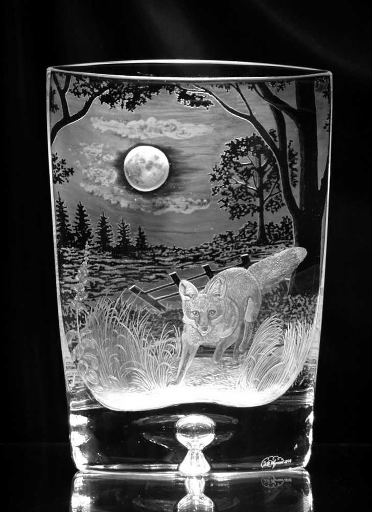 Crystal Vase with Fox