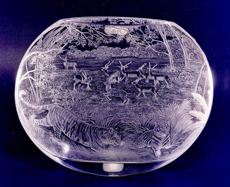 Crystal Vase Indian Wildlife