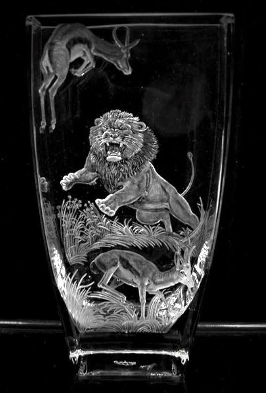 Crystal Vase with lion