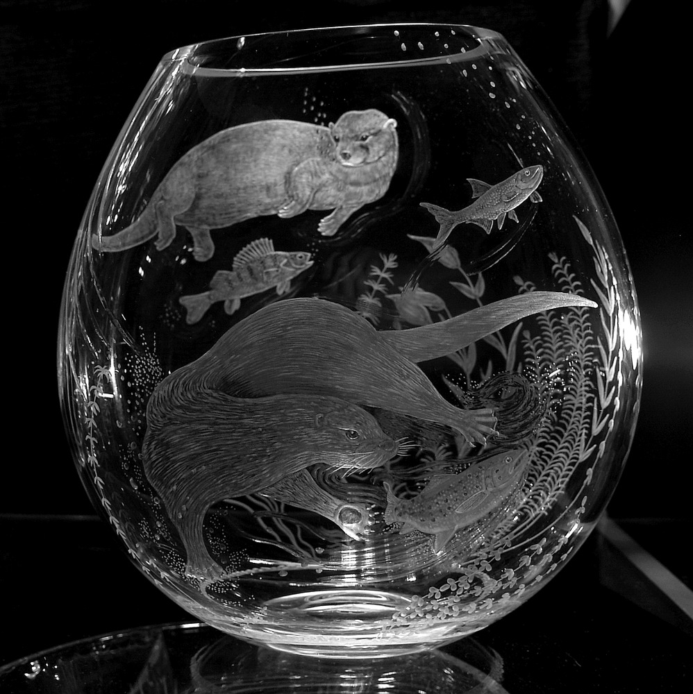 Crystal Vase with Otters