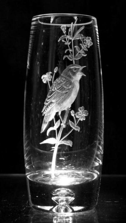 Crystal Vase with Sedge Warbler