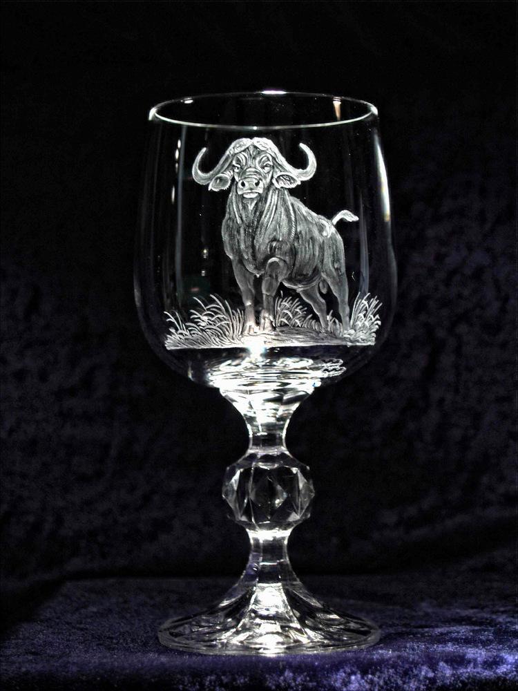 Crystal Wine Glass with Buffalo