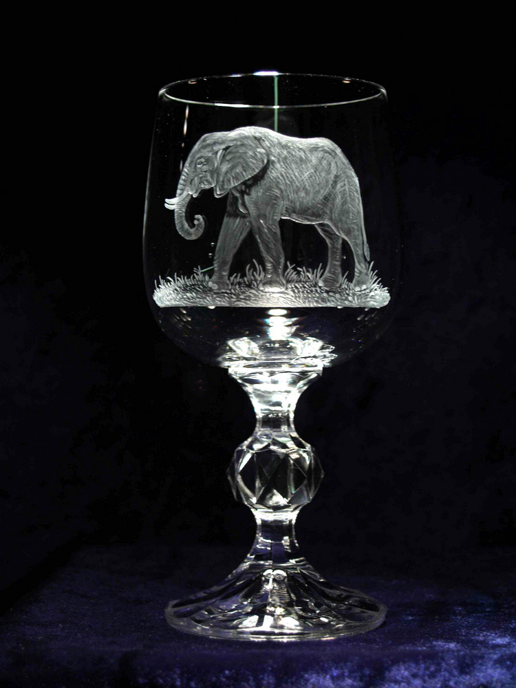 Crystal Wine Glass with Elephant