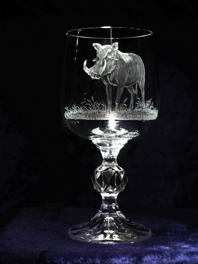 Crystal Wine Glass with Warthog