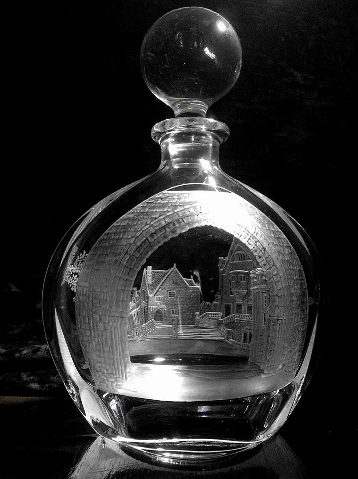 Crystal Decanter with Buildings