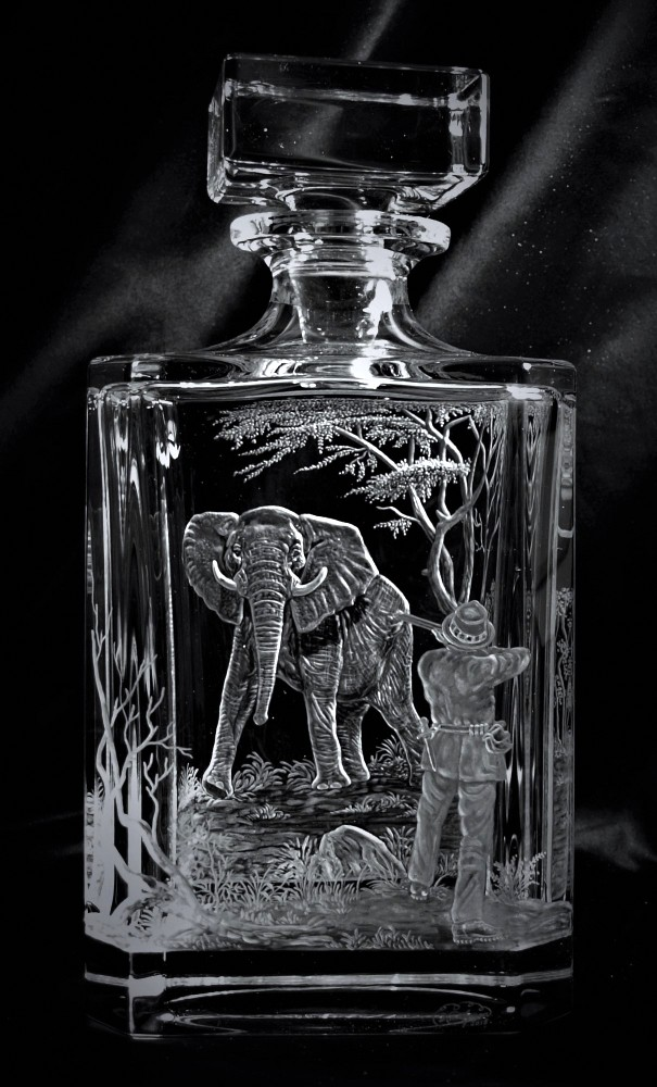 Crystal Decanter with Elephant Hunter