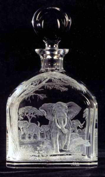 Crystal Decanter with Elephant