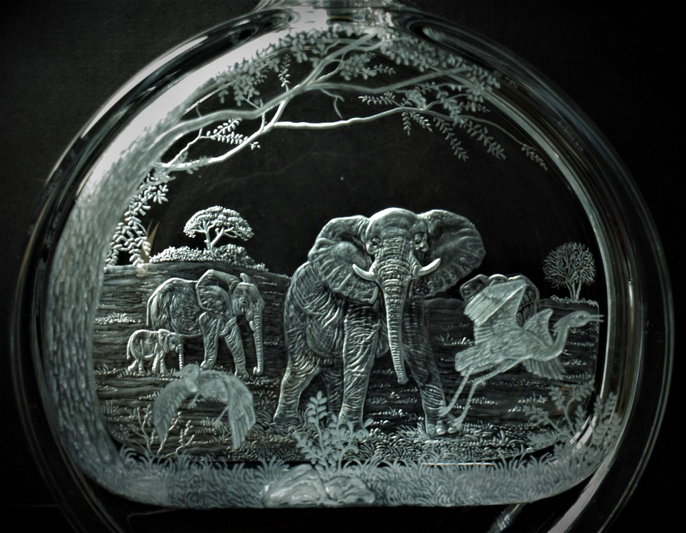 Crystal Decanter with Elephants