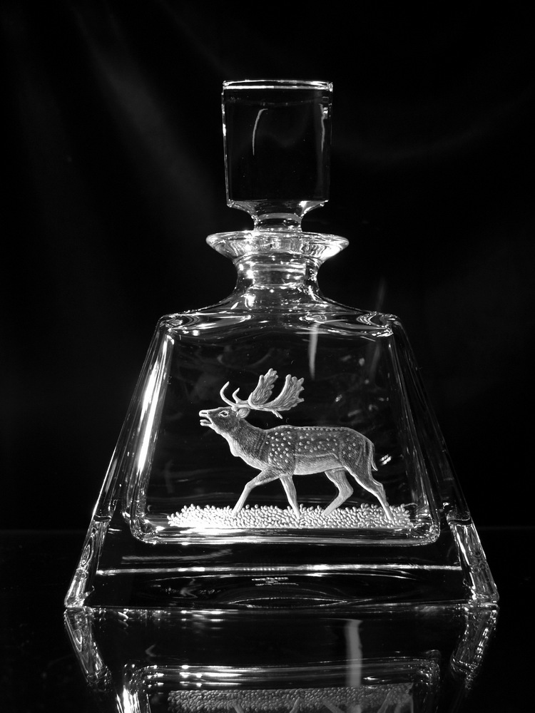 Crystal Decanter with Fallow Deer