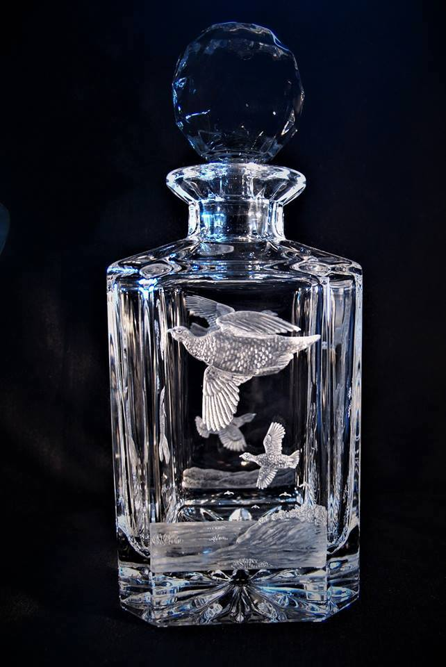 Crystal Decanter with Partridge