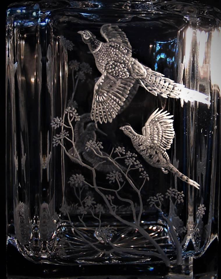 Crystal Decanter with Pheasant Close-Up
