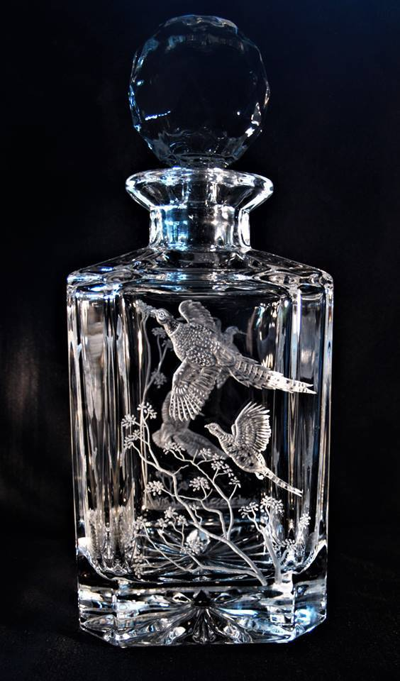 Crystal Decanter with Pheasant