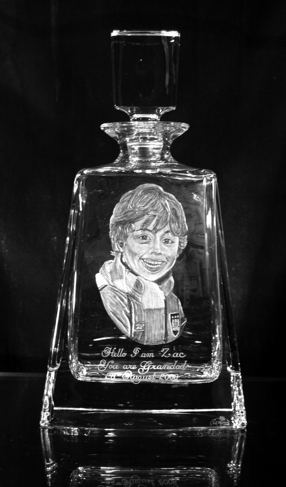 Crystal Decanter with Portrait of Boy