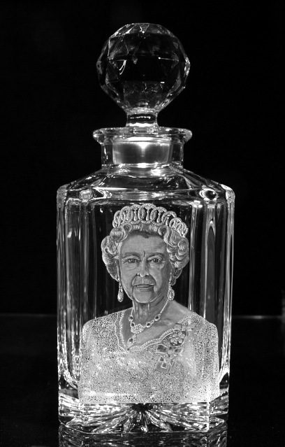 Crystal Decanter with Queen Elizabeth II