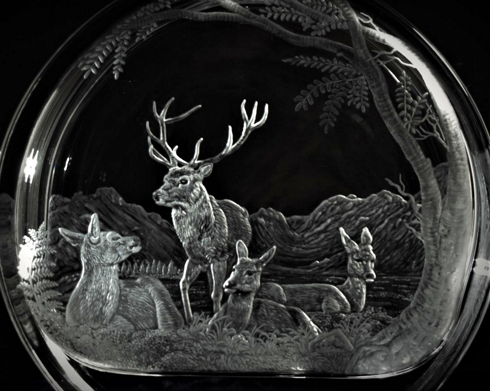 Crystal Decanter with Red Deer Herd