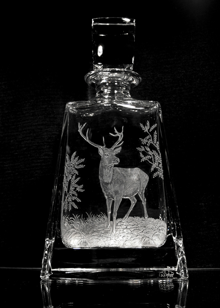 Crystal Decanter with Red Deer