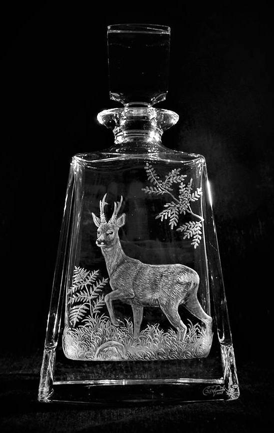 Crystal Decanter with Roe Deer