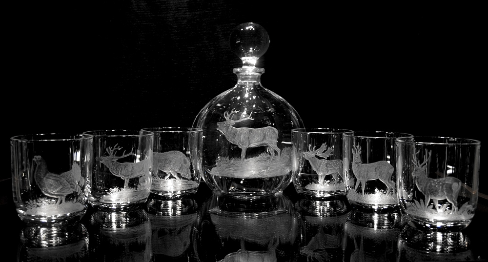 Crystal Decanter & Glasses with Deer