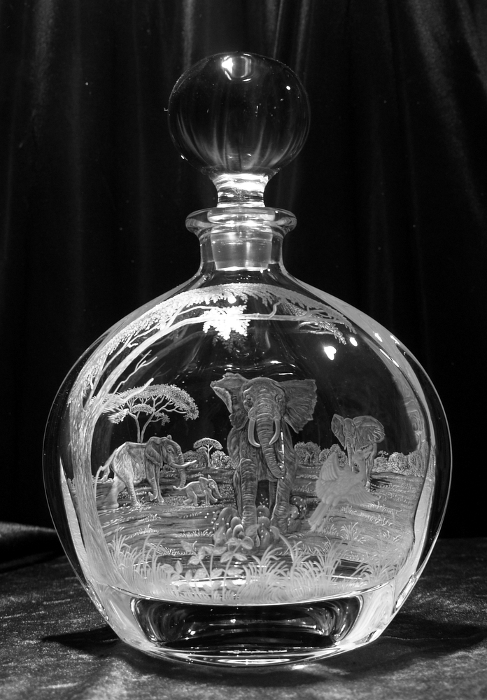 Crystal Decanter with Herd of Elephants
