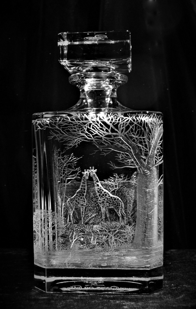 Crystal Decanter with Giraffes