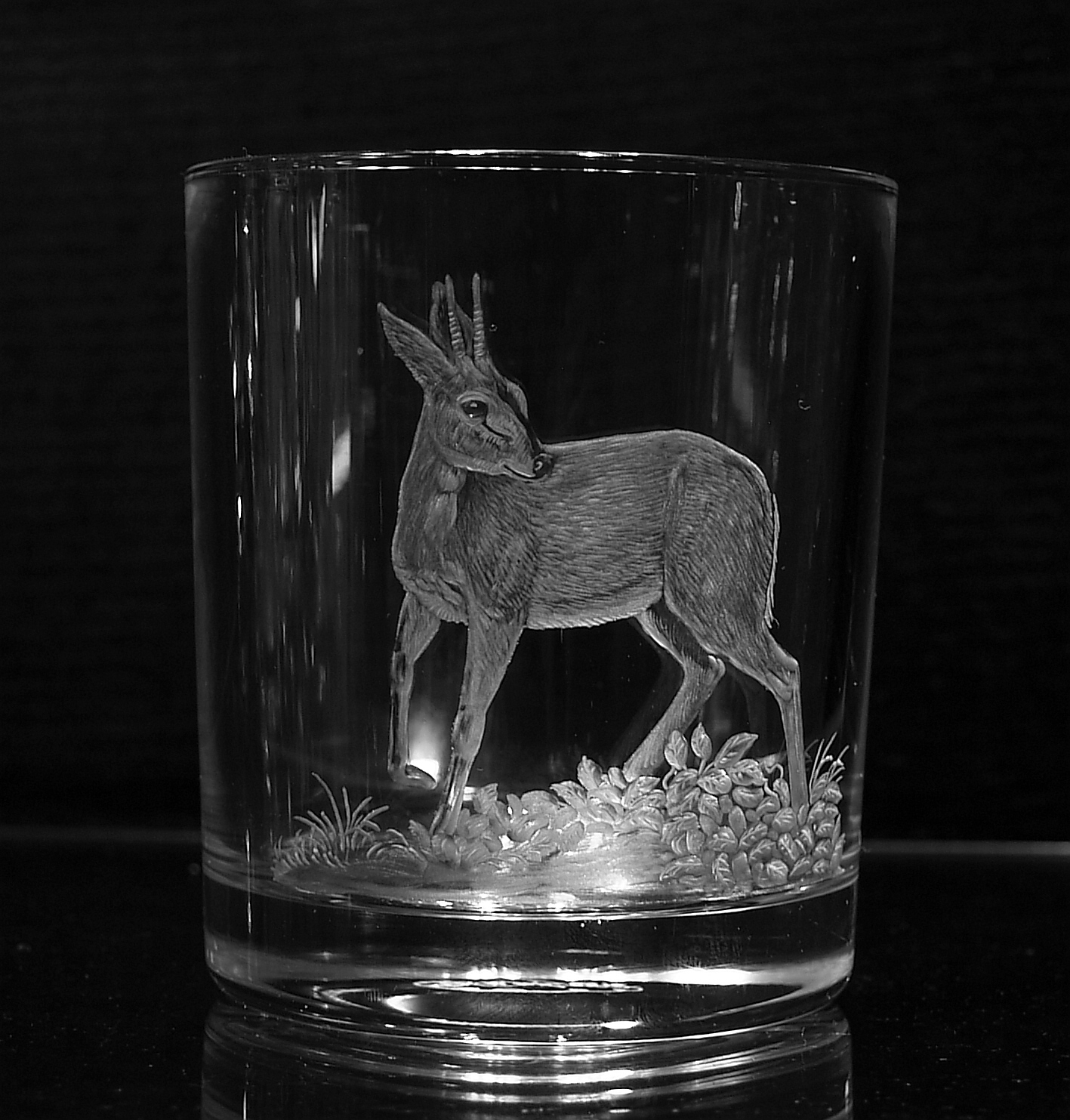 Crystal Glass Tumbler with Grey Duiker