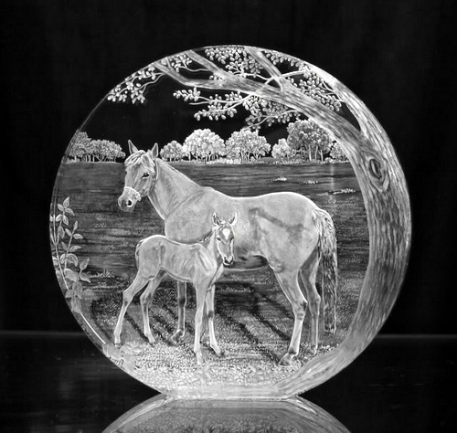 Crystal Glass Horse Portrait