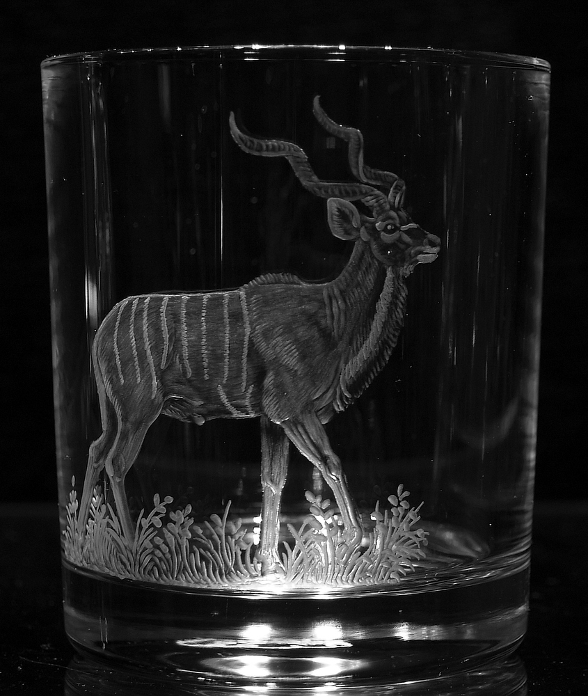 Crystal Glass Tumblers with Kudu
