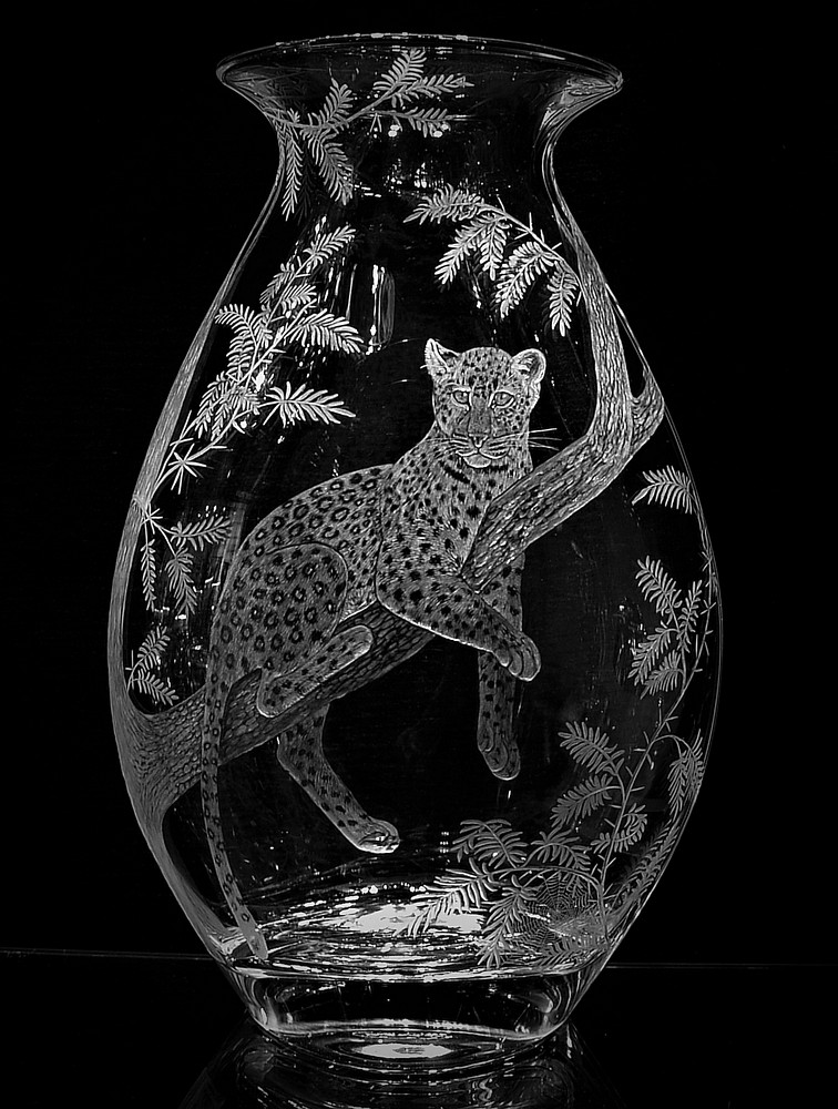 Crystal Vase with Leopard