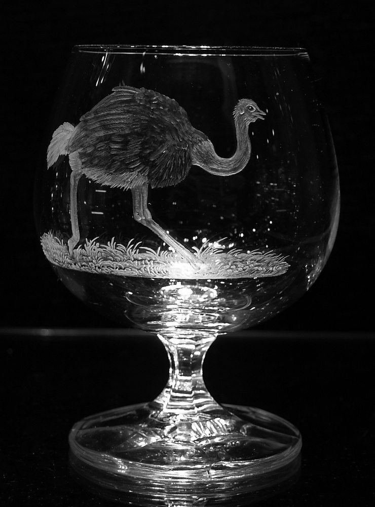 Crystal Wine Glass with Ostrich