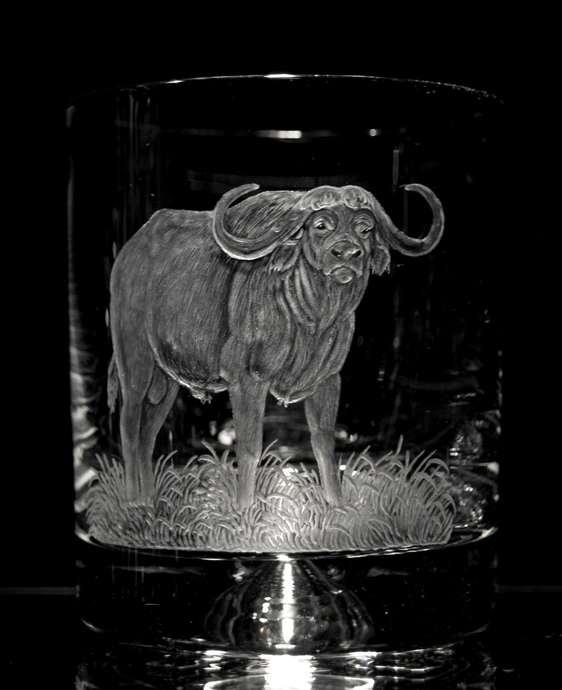 Crystal Glass Tumbler with Buffalo