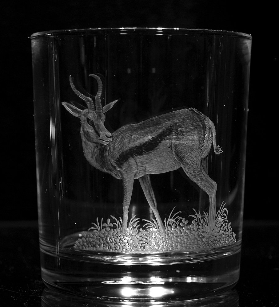 Crystal Glass Tumblers with Springbok