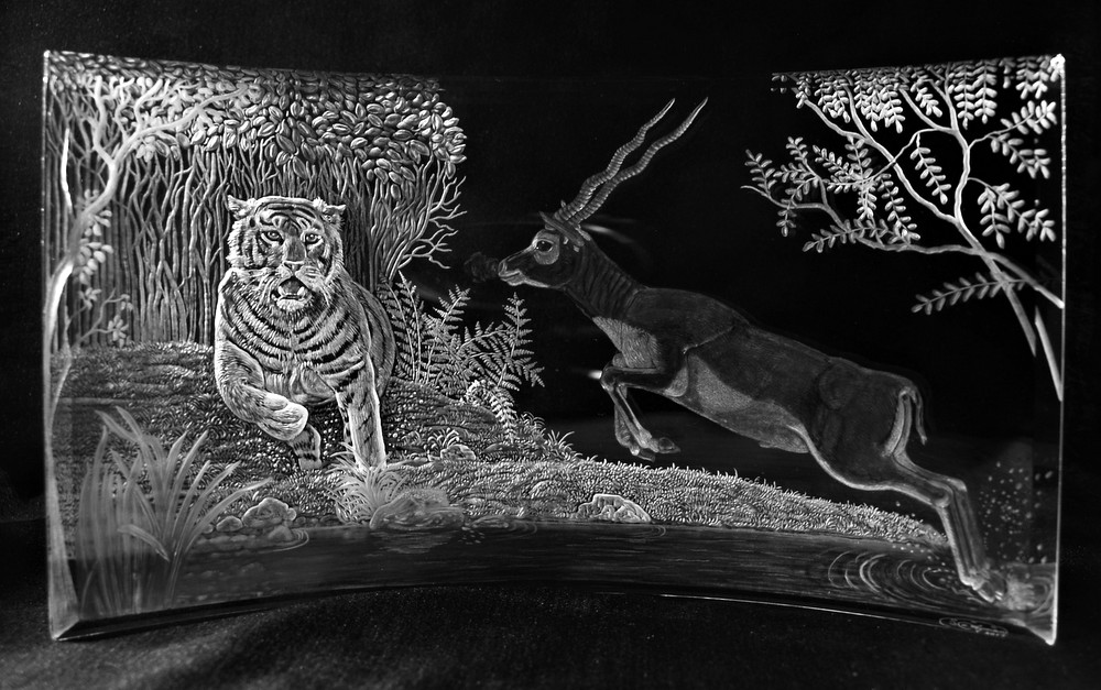 Crystal Plaque with Tiger & Blackbuck