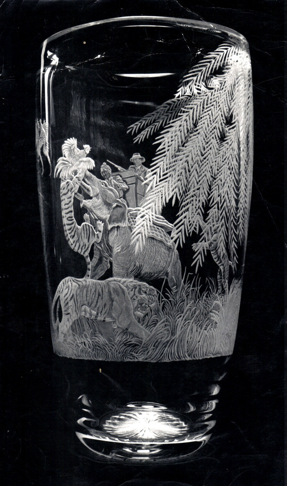Crystal Vase with Tiger Hunting Scene