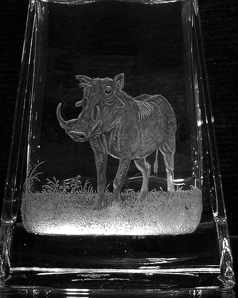 Crystal Decanter with Warthog Close-Up