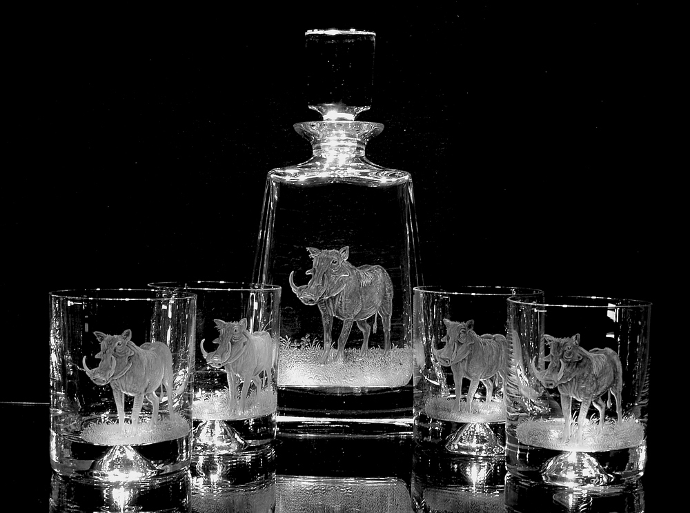 Crystal Decanter Set with Warthog Close-Up