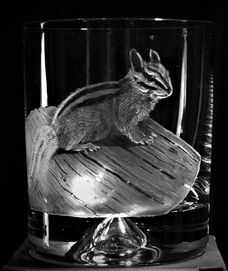 Crystal Glass Tumbler with Chipmunk